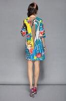 Vestido elegante informal con estampado de animales y lentejuelas media manga 2