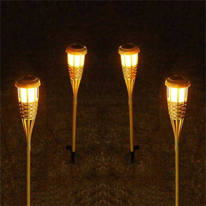 2 Teile/los Handwerk Bambus Lampe Outdoor Ip65 Solar Powered Led Flamme Wirkung Lampe Grünland Garten Rasen Fackeln Landschaft Licht