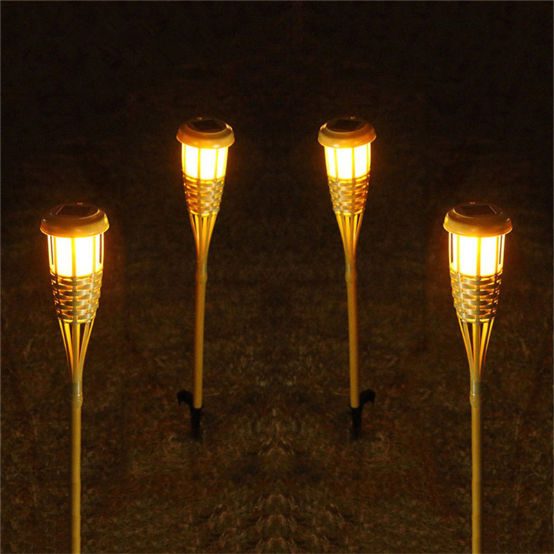 2PCS/Lot Handcraft Bamboo Lamp Outdoor IP65 Solar Powered LED Flame Effect Lamp Grassland Garden Lawn Torches Landscape Light