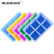 SILIKOLOVE 6 Cavity 3d magic large silicone ice cube maker mold Square DIY Fruit ice Maker Kitchen Bar Drinking Accesoriess(China)