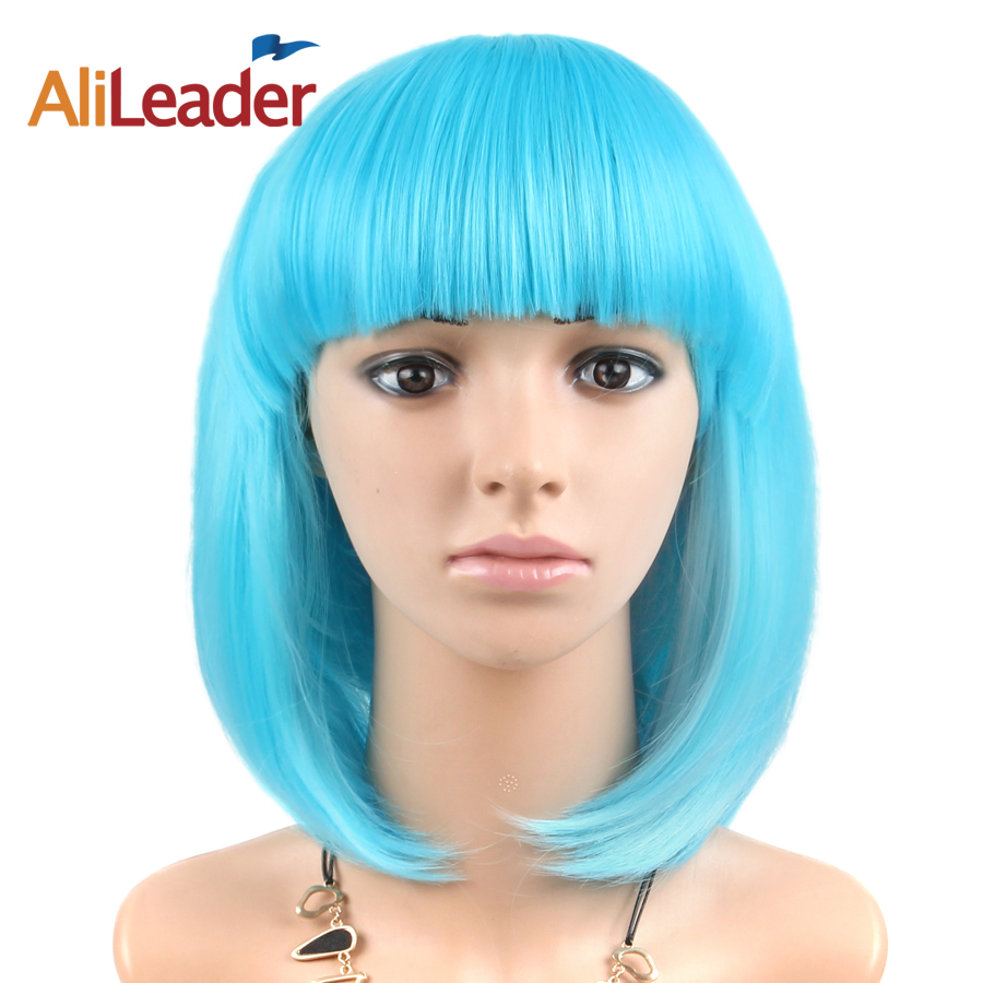 Alileader <font><b>Pink</b></font> Purple Blue 23 Colors <font><b>Short</b></font> Cosplay <font><b>Wig</b></font> With Bangs Costume Party Synthetic <font><b>Wigs</b></font> Straight Bob Hairstyle For Girls image