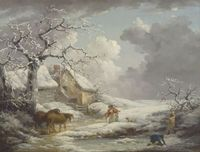 oil painting old woman,man,boy,horses,dog,snow landscape