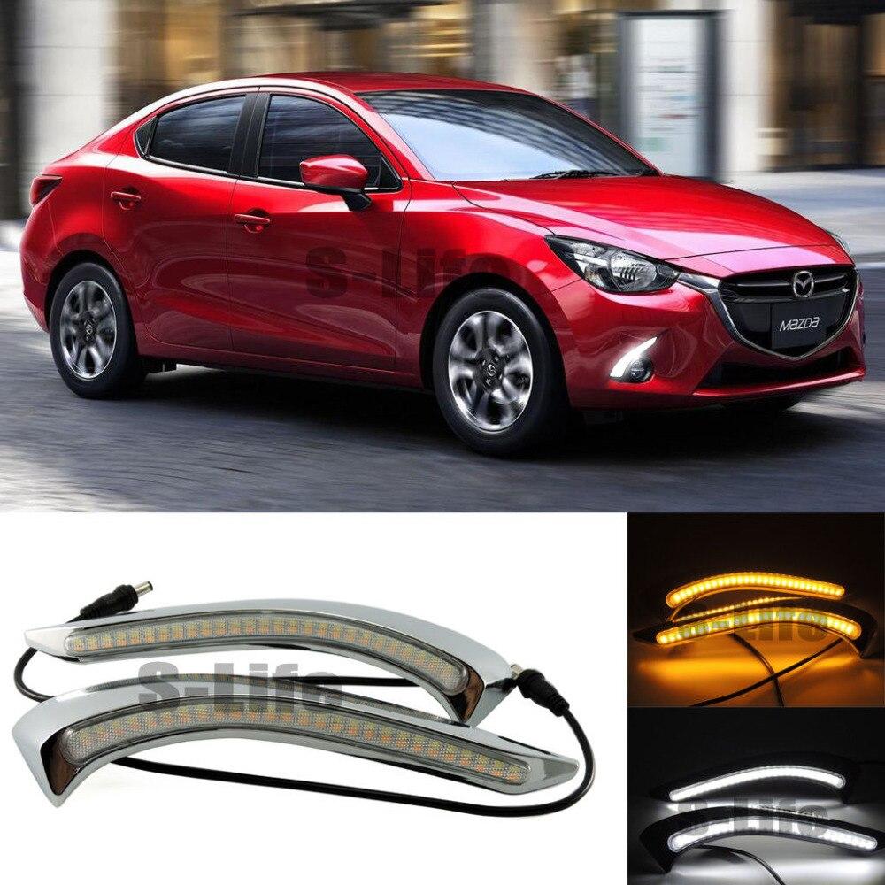 FOR Mazda 2 2015-17 DRL Daytime Running Light+Yellow Turn Signal Fog Driving Lamps опустошитель 17 2015 бойня