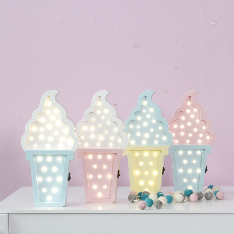 Novelty 3D LED Wooden Ice-cream Hanging Up Night Light Cute Children Bedroom Decoration Lamp Play Toys Lovely Kid Gifts 4 Styles