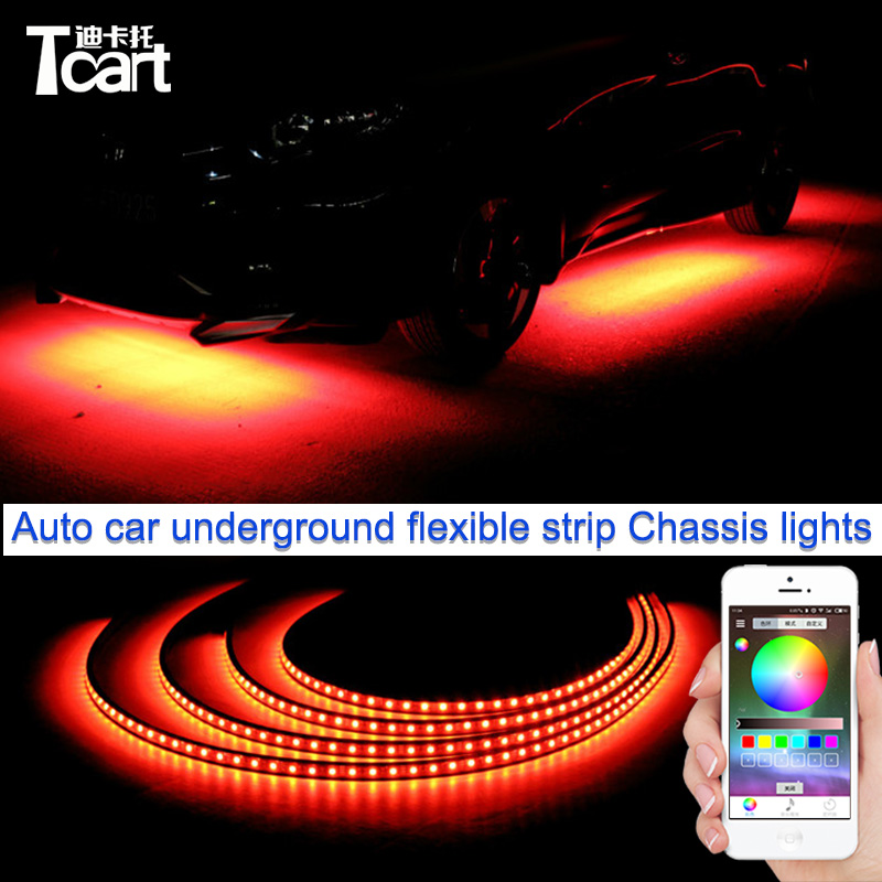 Cheetah 4PCS car rgb app control strip LED Car underbody neon auto light with flow flash nice flexible led lights free shipping car styling 7 color led strip under car tube underglow underbody system neon lights kit ma8 levert dropship