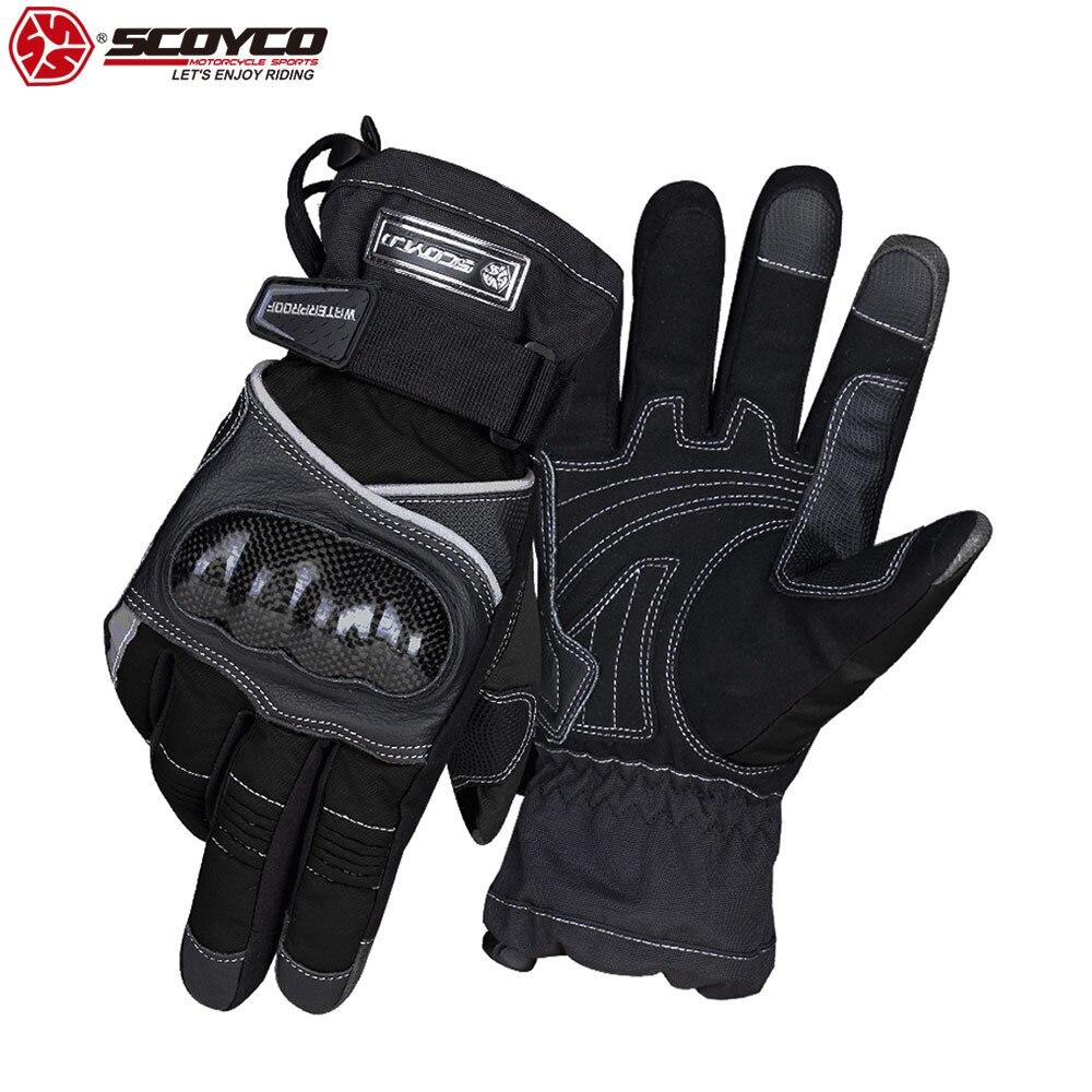 SCOYCO Waterproof Thermal Gloves Cowhide Shockproof Waterproof Thicken Warm Screen Sensitive Winter Motorcycle Gloves
