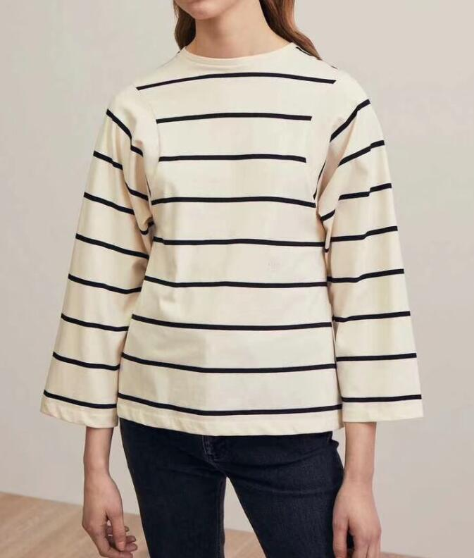 WHITE BLACK STRIPED Espera longsleeve TOPS TEES Front Embroidered FASHION BASIC COTTON TSHIRT FOR WOMAN SUMMER
