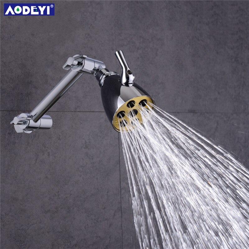 3 Modes Brass Rain Shower Head Saveing Water Rainfall Body Jet Adjust Shower Arm