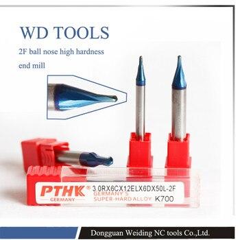 Kugelfräser | R6.0X75LX12D Bis Zu HRC70, Hartmetall Kugelfräser Für Metall, Stahl, 2 Flöte Miniatur Ball Nase Hartmetallfräser
