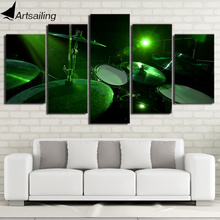HD Printed 5 Piece Canvas Art Green light Drum Painting Music Instrument Wall Pictures for Living Room Free Shipping CU-2477C