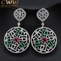 Luxury Vintage Design 6.5 cm Round Dangle Drop White Green Red CZ Earring Micro Pave Cubic Zirconia Jewelry CZ130
