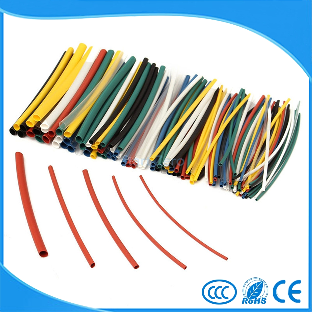 140Pcs Flame Retardant Durable 5 Sizes 7 Color Assorted Colors Ratio 2:1 Polyolefin Heat Shrink Tubing Tube Kits