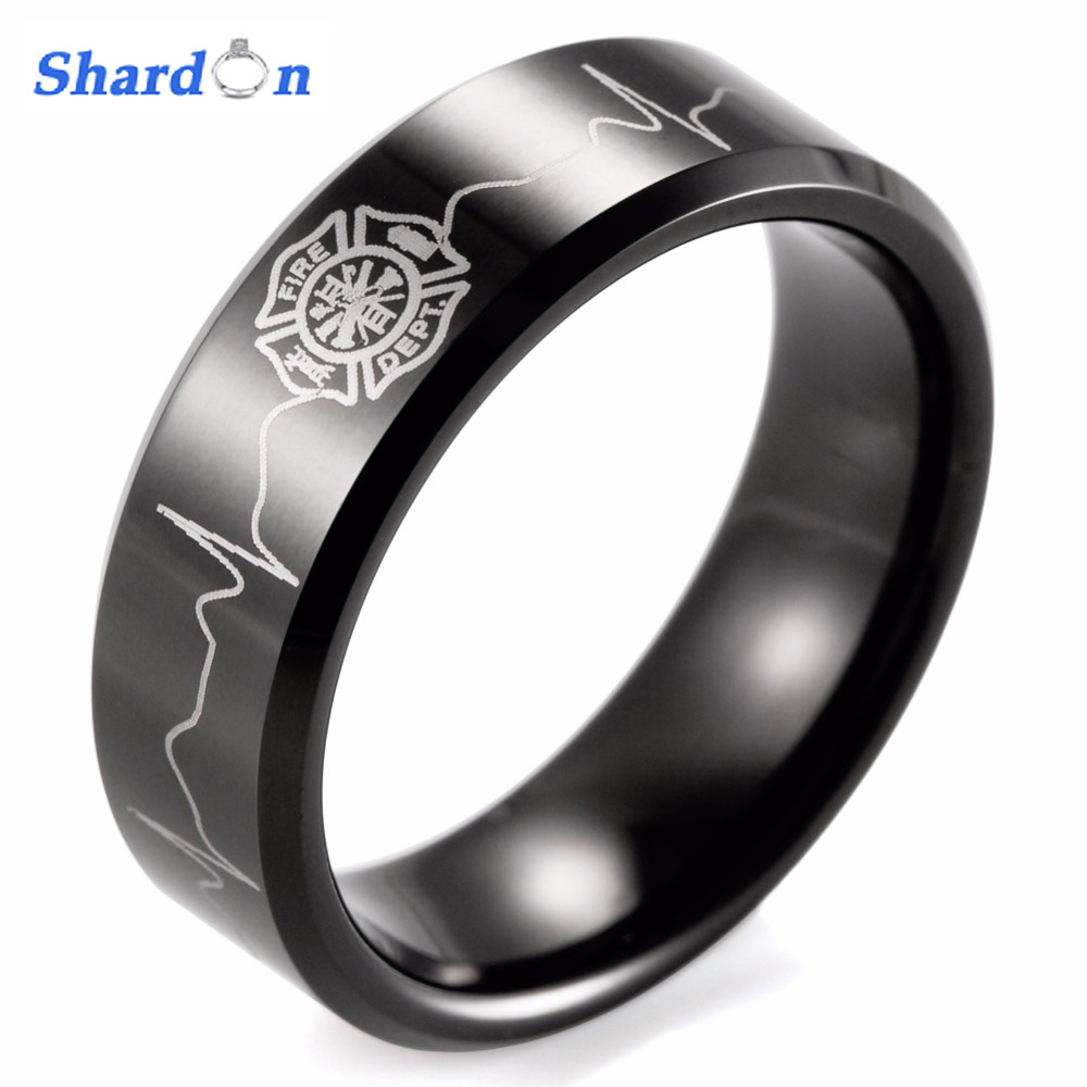 Classic ring men 8mm Black Beveled Tungsten Carbide Firefighter Shield & EKG Design Outdoor Wedding Band men firefighter rings