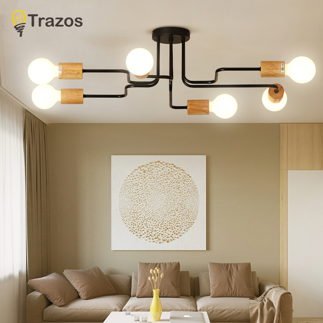 TRAZOS LED Ceiling lights For Foyer Round Ceiling Lamp Modern Metal Bedroom Lightings Wooden Room Lighting Kitchen Wood Lamps