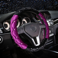 New diamond Car steering wheel cover Female winter Short plush Put sets lovely Diamond Interior for Mercedes Benz BMW Audi
