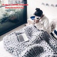 120*150CM Acrylic Sofa Cover Chunky Knitted Blankets Handmade Bedspreads Super Thick Yarn Merino Wool Soft Blanket Warm Winter