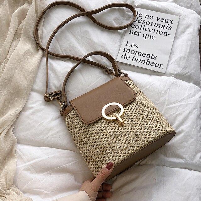 Small Straw Bucket Crossbody Bag