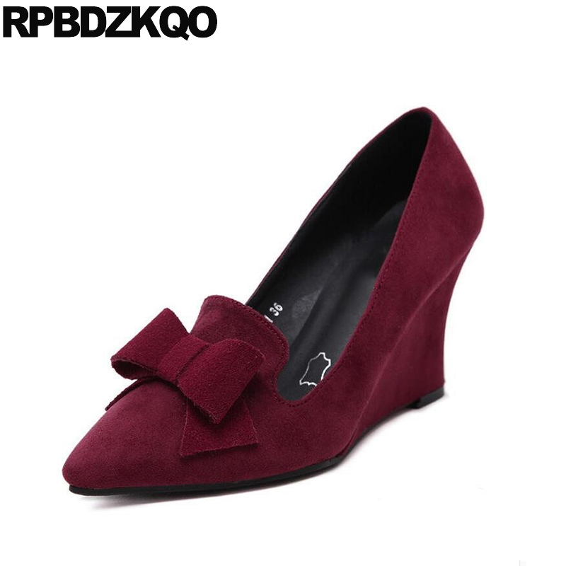 Size 4 34 Suede Chic Wedge Bow Dress 3 Inch Gray Women Office Shoes Ladies Pointed Toe 2017 Wine Red Pumps Autumn New Chinese электрогриль gfgril gf 130 plate free