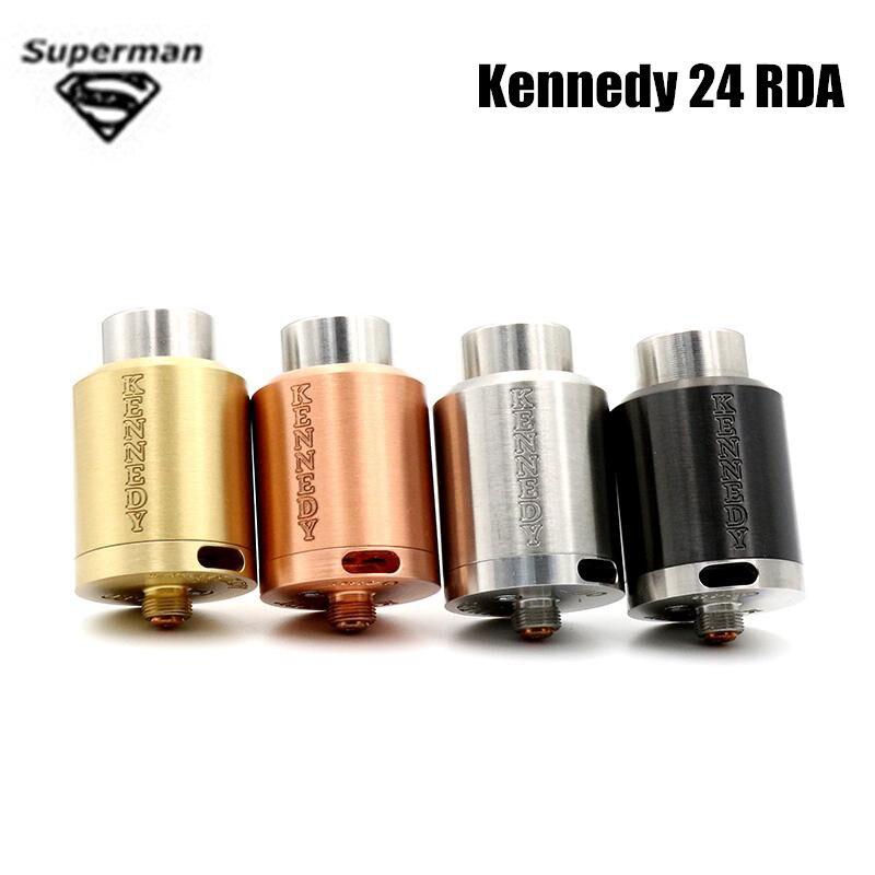 Vaporizador RDA Kennedy 24 24mm de Diâmetro cigarros e SS Cobre Latão Preto Isolante PEEK Rebuildable Atomizador ajuste 510 caixa mod