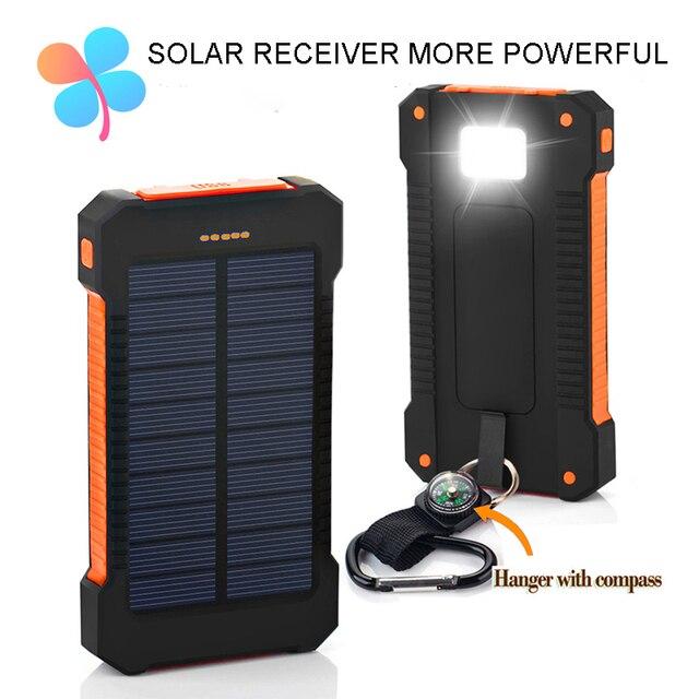 ТОП Солнечной Энергии Банк Dual USB Travel Power Bank 10000 мАч Внешняя Батарея Портативное Зарядное Устройство Bateria наружный для Мобильного телефон