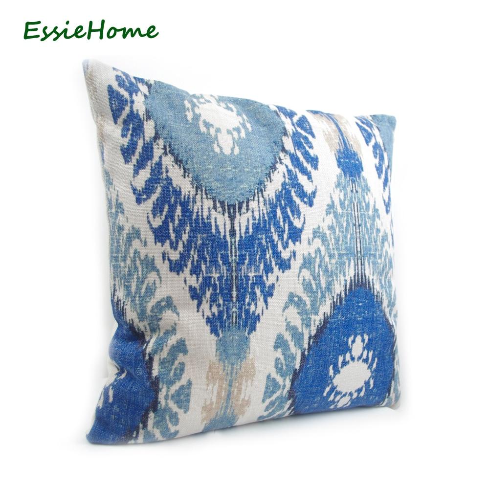 ESSIE EV High-End El Baskı Açık Mavi Ikat Desen Yastık Kılıfı - Ev Tekstili - Fotoğraf 2