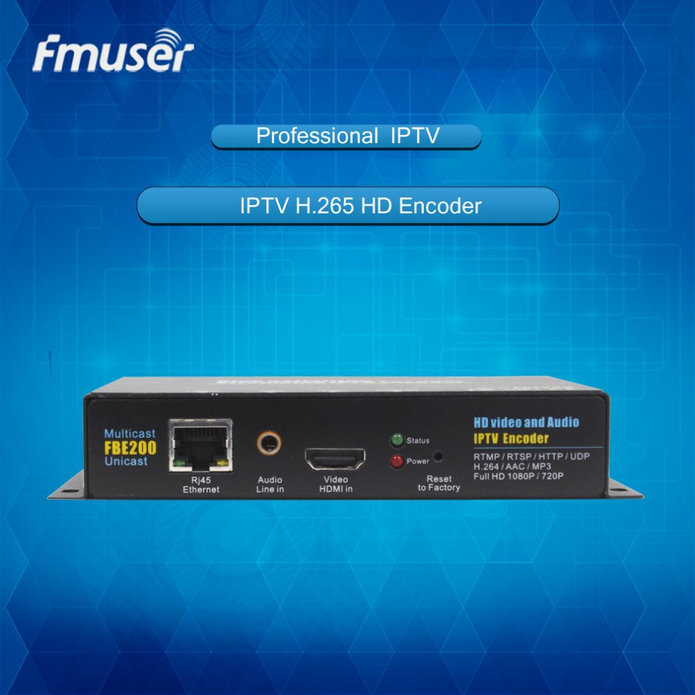 FMUSER-FBE200-H.264-LAN Hot sale HDMI Encoder + Audio Over IP Stream MPEG4 /H.264 Encoder For Live Streaming IPTV Broadcast