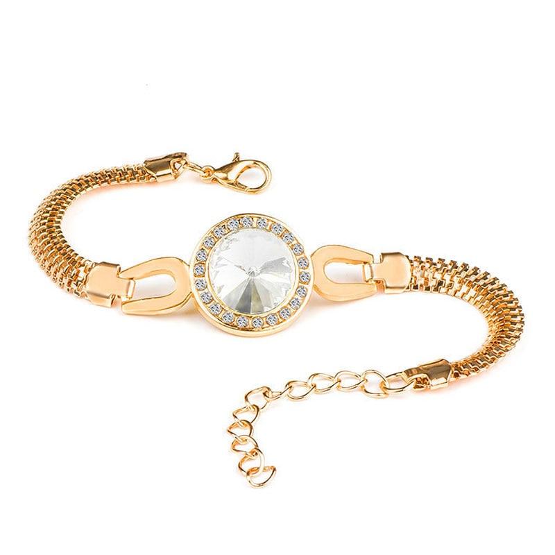 QCOOLJLY Female Jewellry Accessories Multi-Designs Gold Color Alloy Crystal & Rhinestone Flash Cuff Chain wrap bracelet Bangle 1