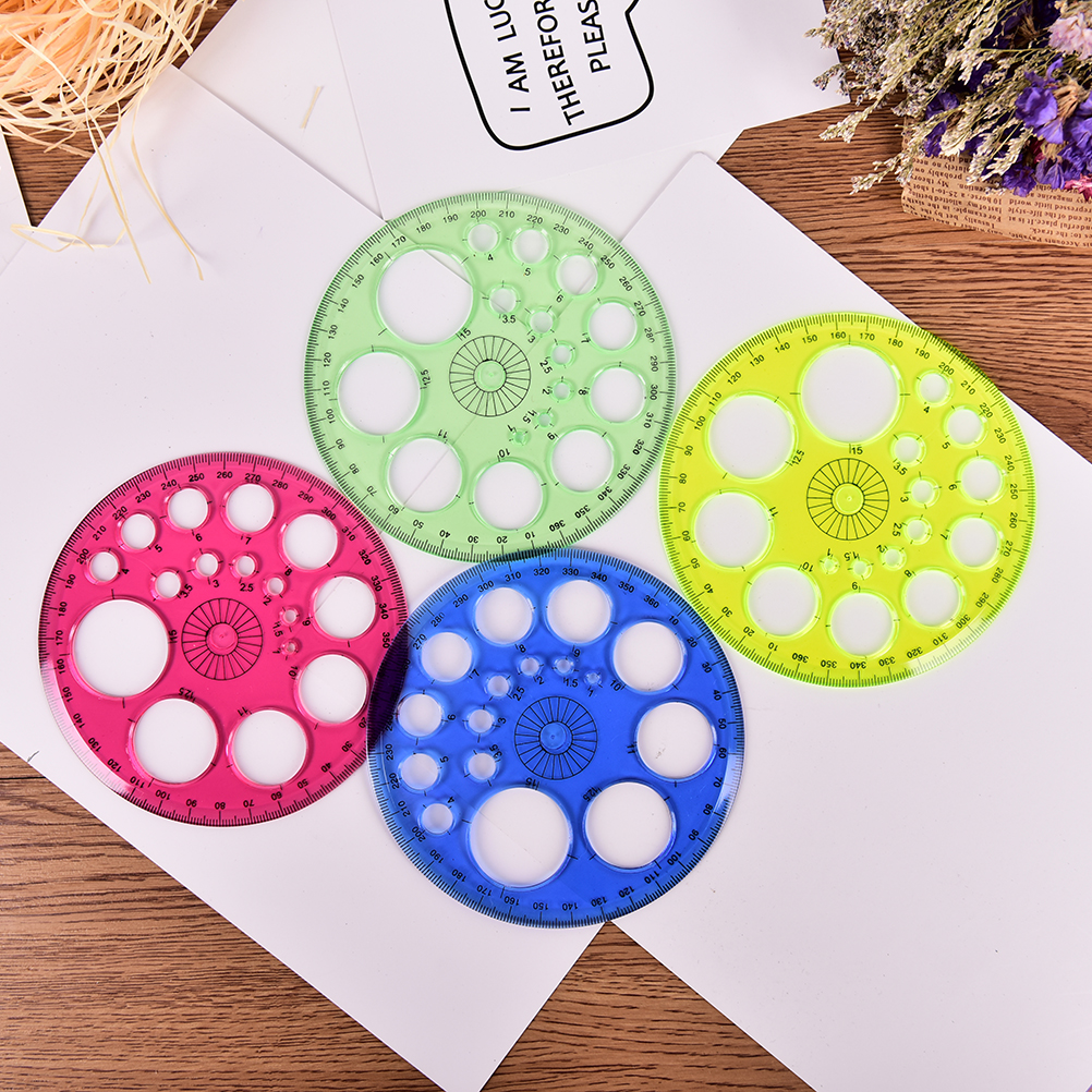1pcs Foot Diameter 11.5cm 360 Degree Circular High-grade Patchwork Ruler Optional Four-color Stationery Rules For Kids Gift