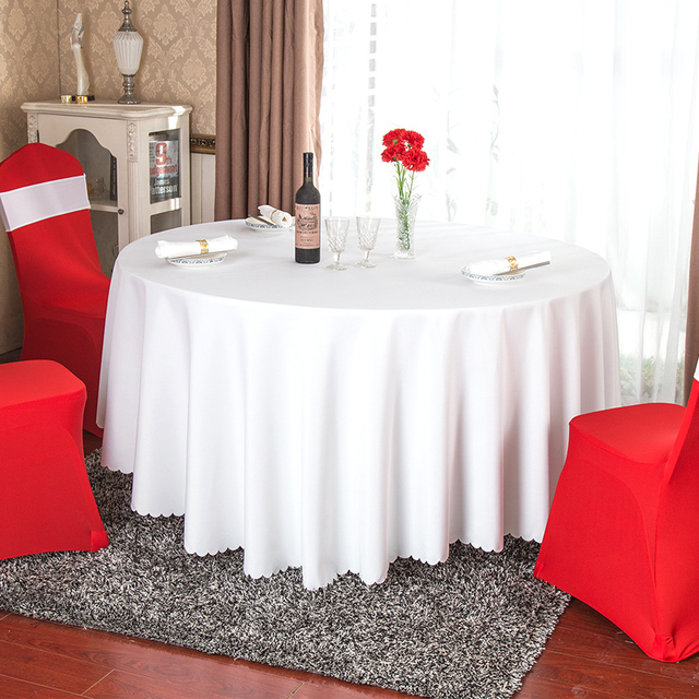 Solid Color 100% Polyester Round Table Cover Fabric Square Dining Table  Cloth Tablecloth Hotel Office
