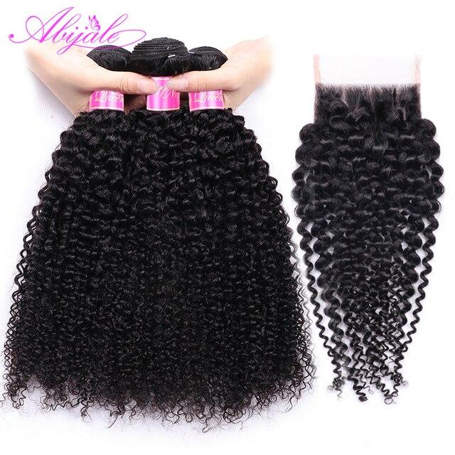 Paquetes rizados Abijale con cierre paquetes de cabello humano con cierre no Remy paquetes de tejido de cabello brasileño