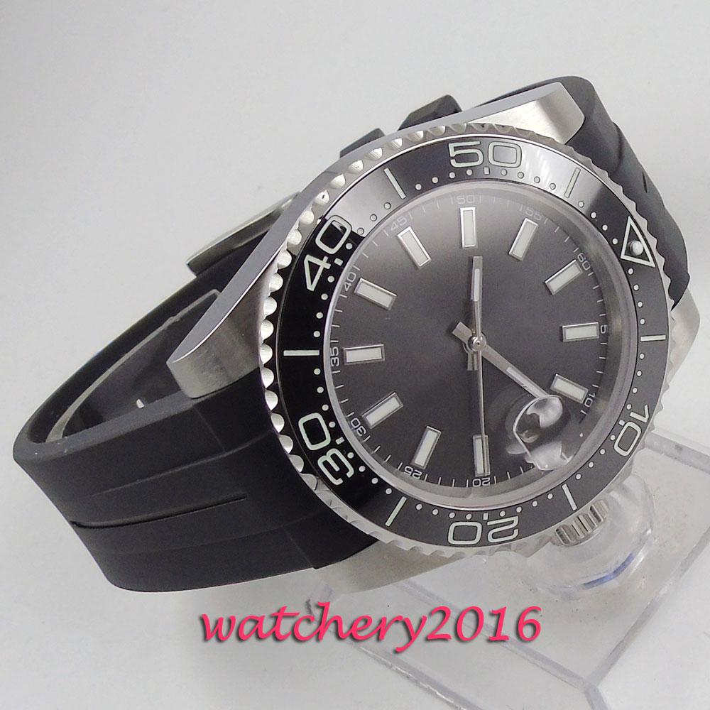 39mm Bliger steriele Wijzerplaat Zwarte Wijzerplaat Saffierglas Luminous marks Rubber strap Datum keramische Bezel Automatisch uurwerk horloge-in Mechanische Horloges van Horloges op  Groep 3