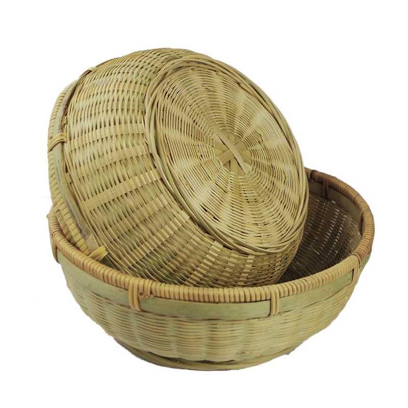 Placa de bambu Mão-Tecido cesta de Armazenamento Cesta de Compras De Armazenamento Rodada Prato de Frutas Caixa de Armazenamento De Desktop Caixa De Armazenamento De Três-Piece cesta
