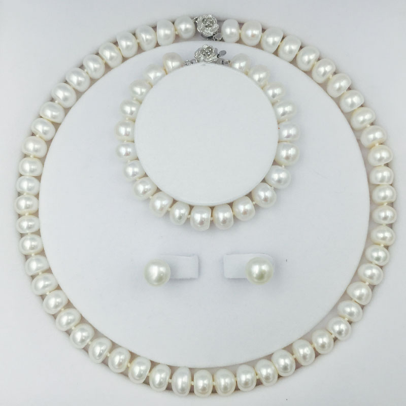 Klasszikus édesvízi gyöngy gyöngy ékszer szett 18 hüvelyk nyaklánc fülbevaló karkötő 9-11mm gyöngy chokers sterling ezüst zár