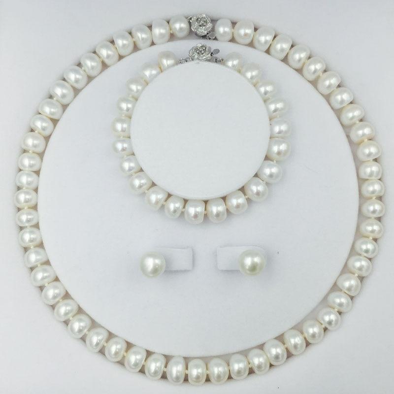 Класични слатководни бисери перла накит Сет са 18инцх огрлицом наушница наруквица 9-11мм бисери цхокерс стерлинг силвер лоцк
