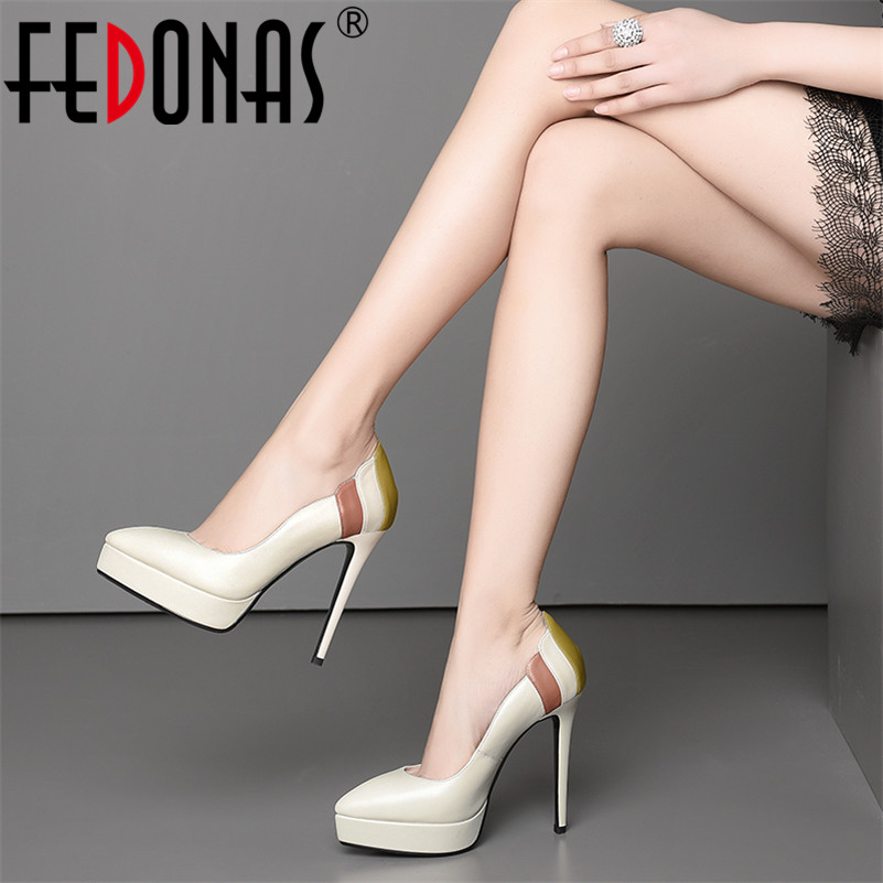 FEDONAS 2019 New Elegant Women Platforms High Heels Pumps Sexy Round Toe Party Wedding Shoes Woman Slip On Basic Pumps FEDONAS 2019 New Elegant Women Platforms High Heels Pumps Sexy Round Toe Party Wedding Shoes Woman Slip On Basic Pumps