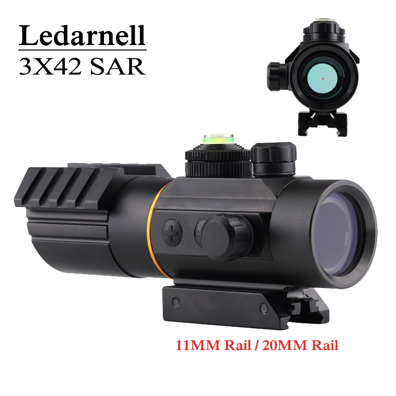 Ledarnell 3x42 11mm/20mm Rail Mounts Tactical Riflescope Sight Scope Hunting Holographic Red Dot Optical Telescopic For Hunting