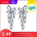 ZAKOL Marquesa corte racimo flor Zirconia cristal largo pendientes brillante hoja de novia de la boda de la joyería para las mujeres FSEP167