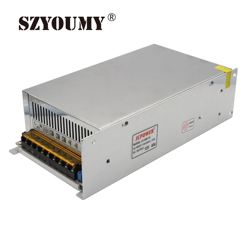 SZYOUMY Switch Power Supply 480W 12V 40A Switching Driver Regulated Voltage Transformer For Led Strip Light 110V/220V 12v 3 2a 40w switch power supply driver for led light strip 110v 220v