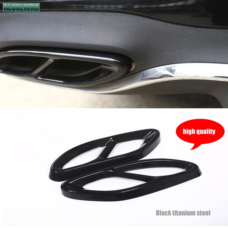 Black Stainless Steel Dual Exhaust End Tip Pipe Trim fit For Mercedes Benz C Class W205 C200 C220d C250 C250d 2015 2016 2017