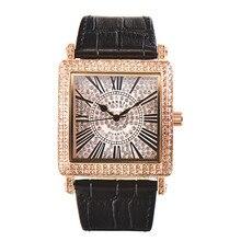 Moda kare izle tasarımcı kadın saatler Rhinestone kuvars tam elmas izle kadın kol saati relojes mujer MBT010
