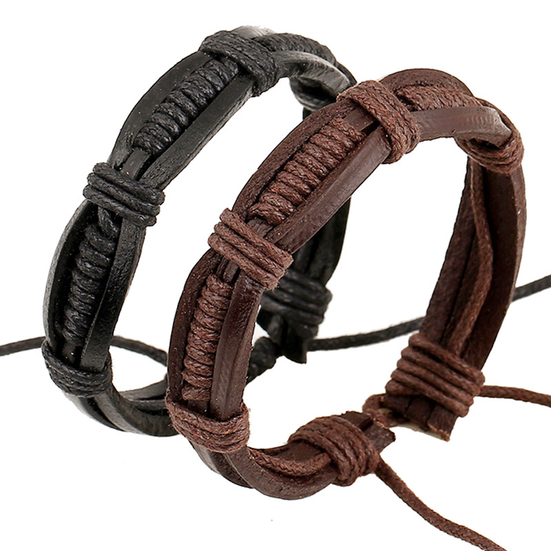 b60a1db4d17d Vaquero casual pulsera de cuero de vaca trenzado hombres Pulseras y  brazaletes mujeres joyería diseño simple alta calidad wristband regalos en  Wrap Pulseras ...