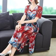 Summer Dress Plus Size Women 2019 100% Natural Silk Vintage Printed V-Neck Short Sleeved Split Casual Dress Midi M-XXXL цена