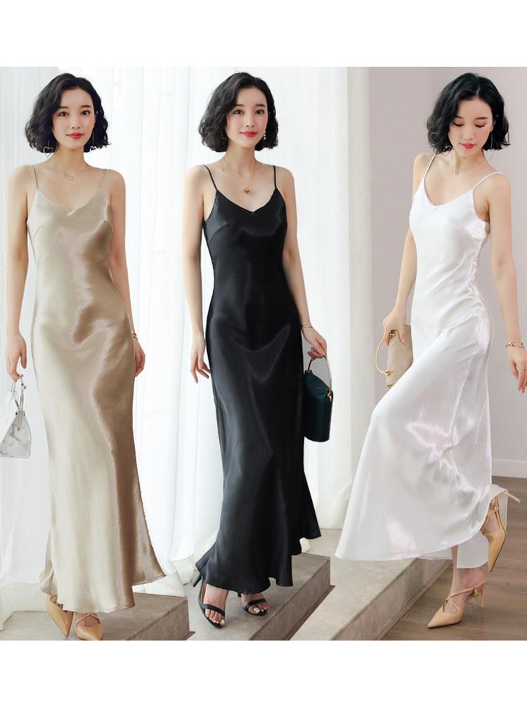 Women Long 130cm Silk Satin Slip Dress Spring And Summer Strap Sleeveless V Neck Sexy Bottom Skirt A Line Large Hem Beach Dress