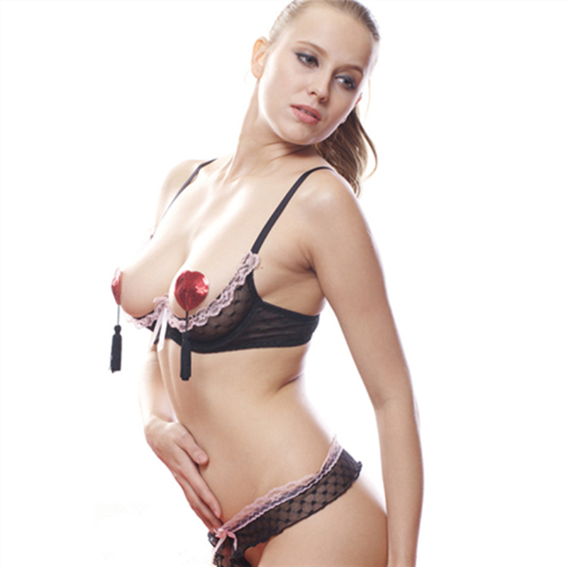 Black Mesh And Pink Lace Shelf Bra With Underwire, Sexy Bra Set Open Cup Bra Open Bust Open Nipple Free Size