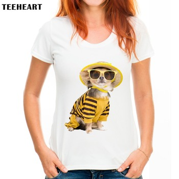 TEEHEART Women Harajuku French Bulldog Pug Summer Lady Cute Round Neck Short Sleeve Print T-shirt Ladies Tops Tees pc310