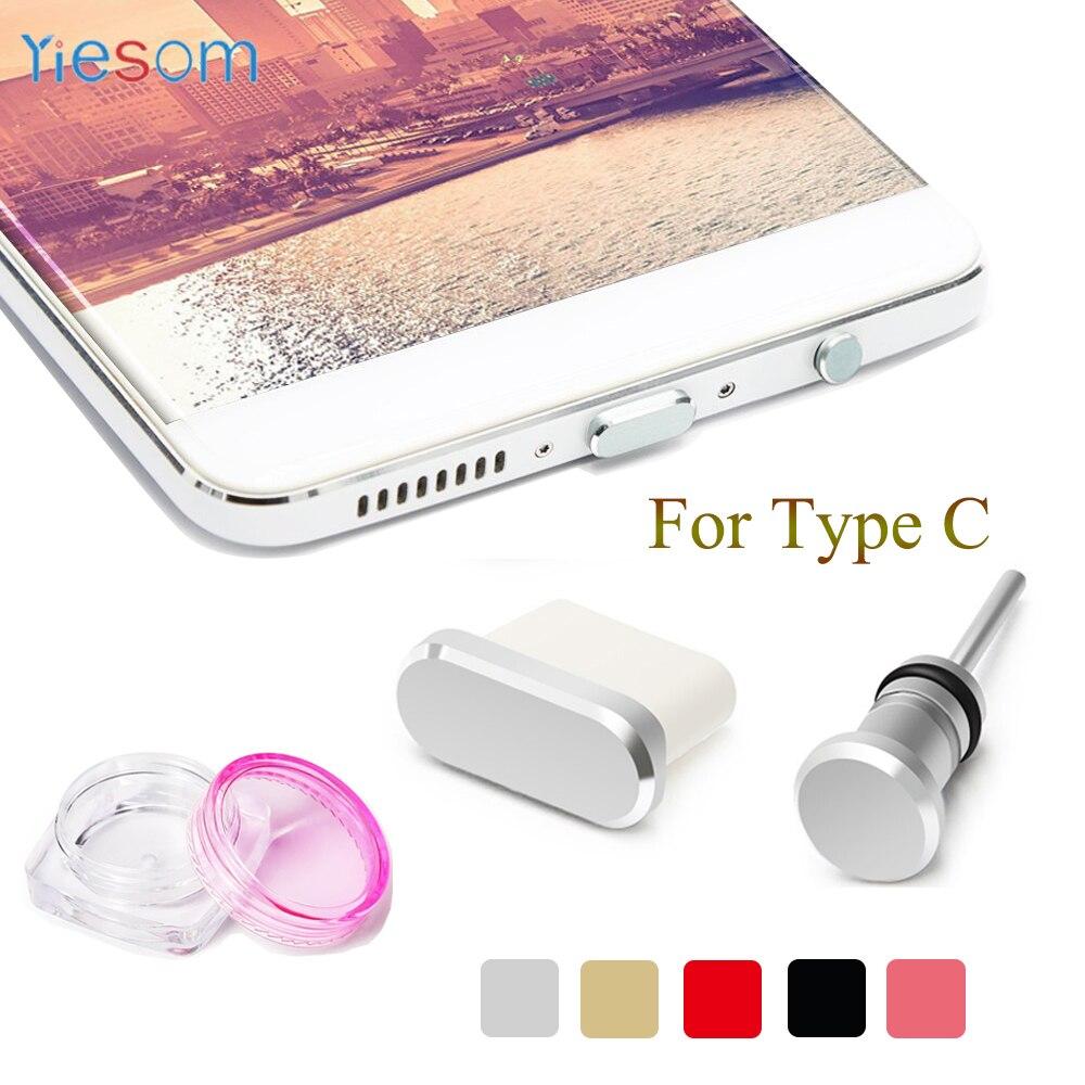 YIESOM Type C Anti Dust Plug Set USB Type-C Port and 3.5mm Earphone Jack Plug For Samsung Galaxy S8 S9 Plus Huawei P10 P20 lite