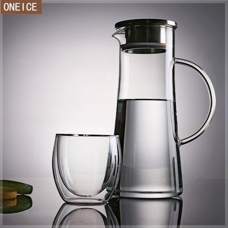 ابريق زجاجي سعة كبيرة جديد مع مقبض زجاجي مقاوم للحرارة العالية ابريق قهوة زجاجي مقاوم للصدأ 1500 مللي