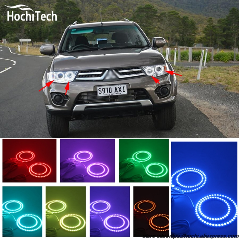 for Mitsubishi Challenger Montero Sport 2008 - 2016 LED perimeter headlight rings halo Multi-color RGB angel demon eyes