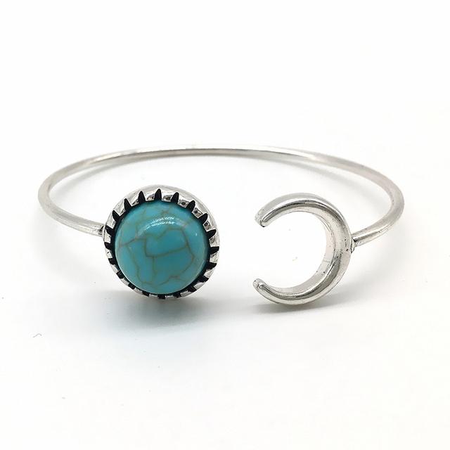 Turquoise Open Wild Tribe Style Bracelet Moon
