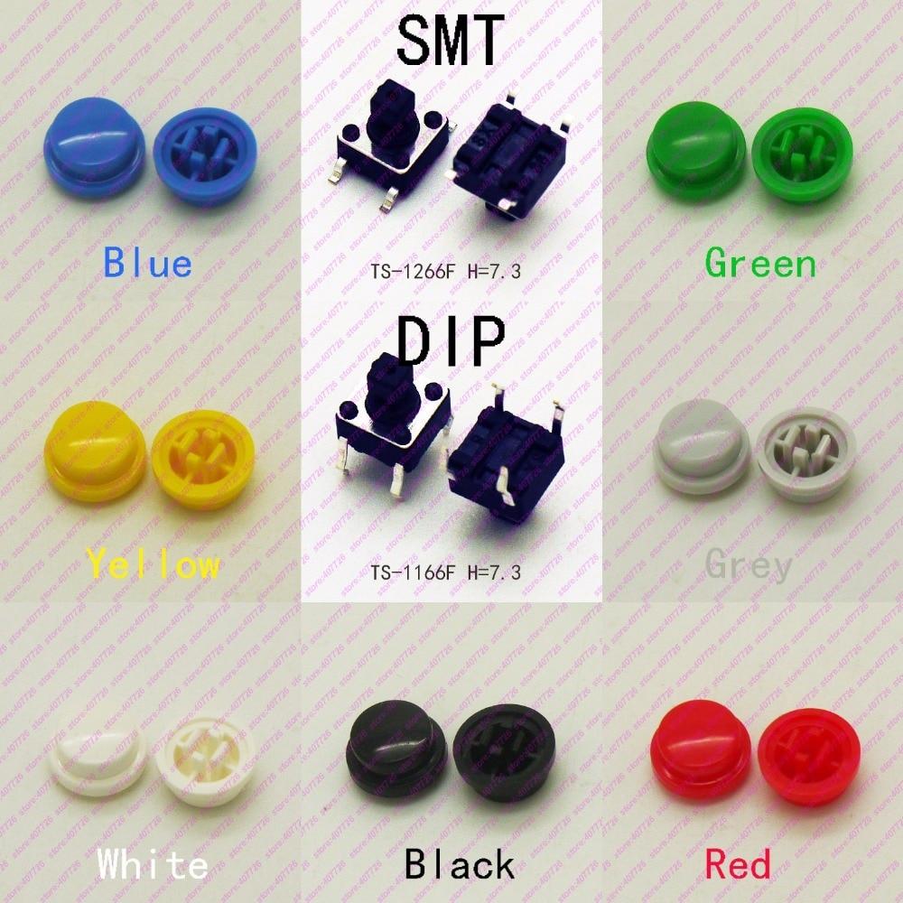 10 шт. 6*6*10,3 мм с круглой крышкой, 4-контактная мгновенная тактовая кнопка DIP & SMT, Верхняя квадратная головка, тактические ключи, мини-кнопка